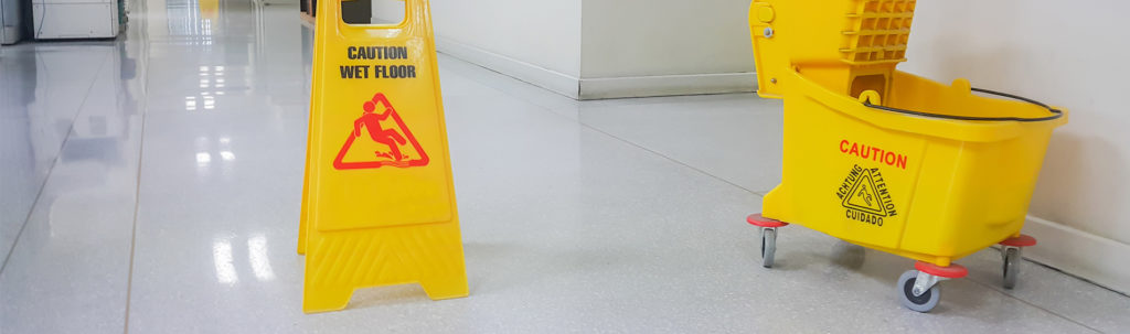 commercial cleaning - Floor Wet Cleaning Sign and Mop Bucket
